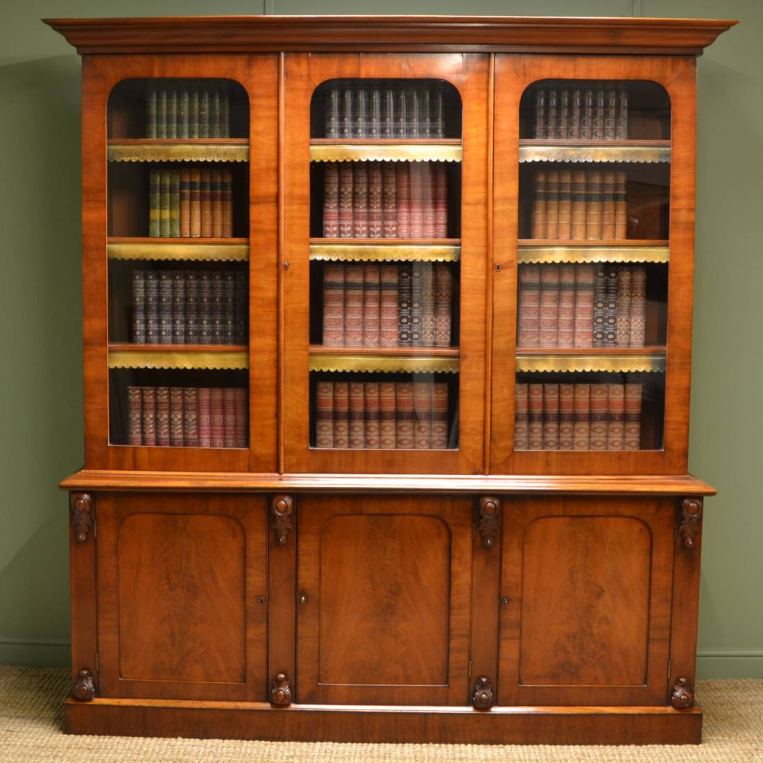 Stunning Figured Mahogany Large Antique Library Bookcase