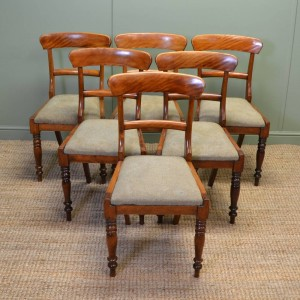 Unusual Set Of Six Country Satin Birch Victorian Dining Chairs