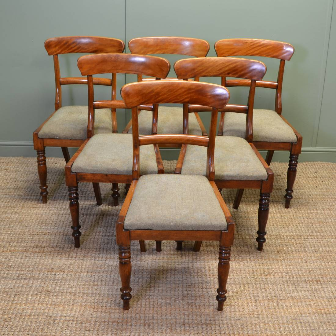 Antique victorian dining chairs - Unusual Set Of Six Country Satin Birch Victorian Dining Chairs