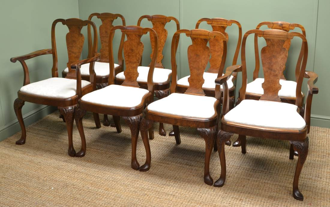 Set Of 8 Stunning Quality Edwardian Walnut Antique Dining Chairs