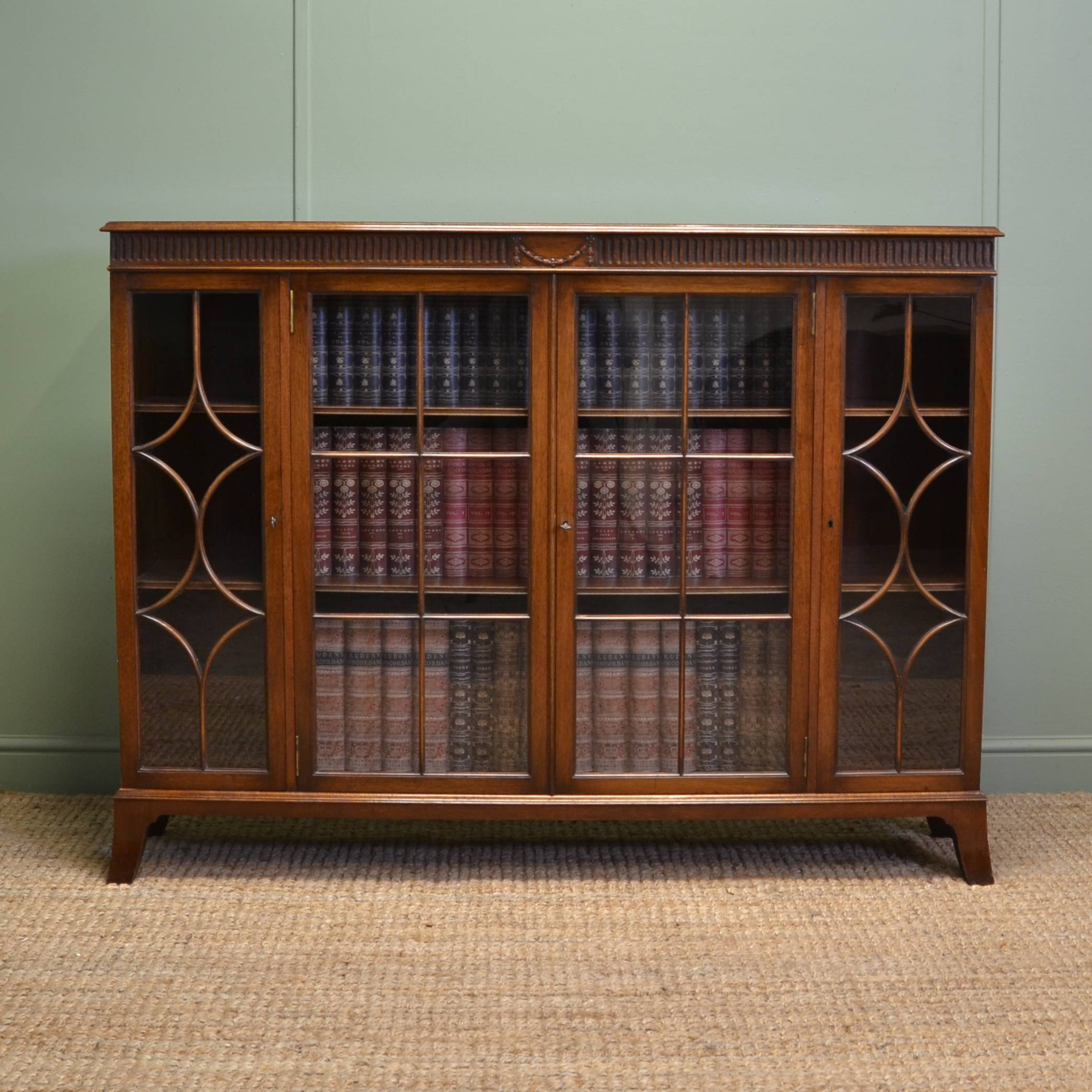 Waring And Gillows Antique Mahogany Small Glazed Bookcase