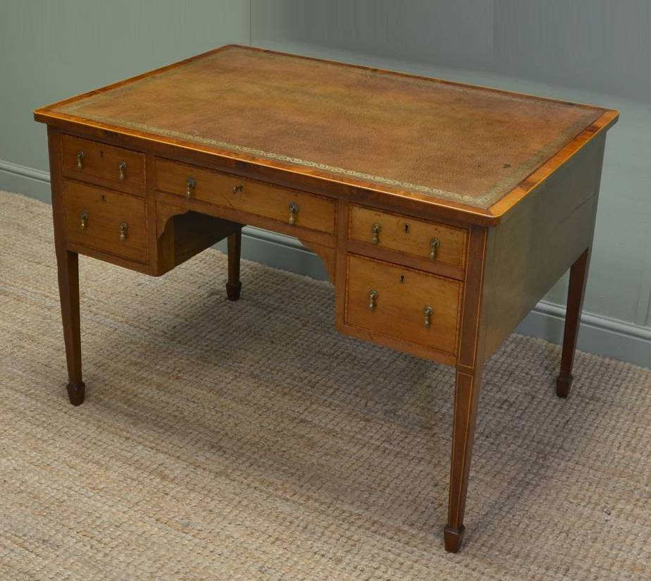 large writing desk This large writing desk is defined by its rustic elegance and traditional style leather top and three drawers free shipping included.