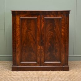 Superb Quality William IV Flamed Mahogany Antique Cupboard / Cabinet