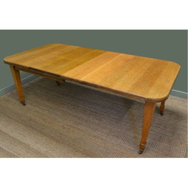 Edwardian Golden Oak Antique Wind Out Extending Dining Table