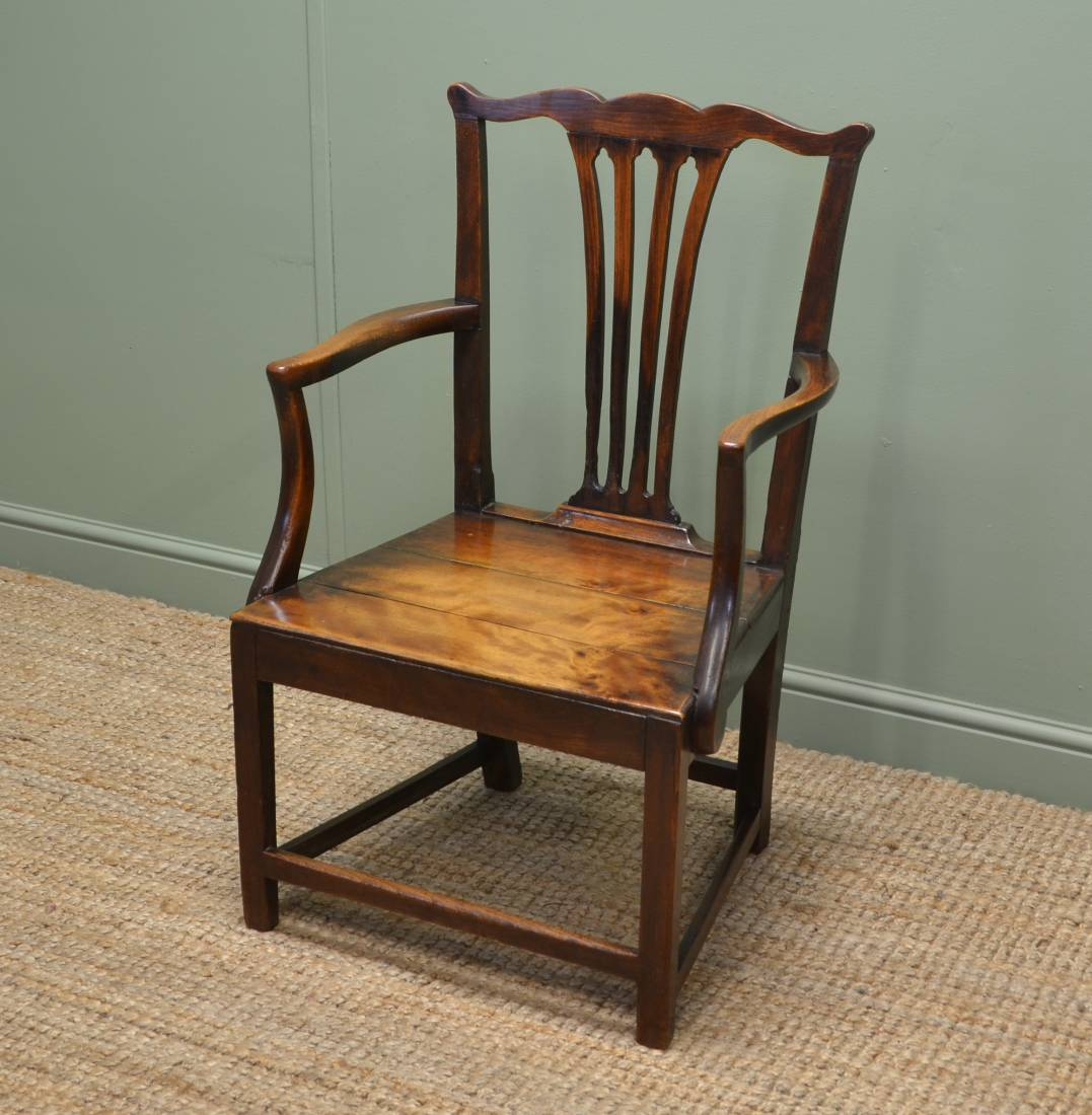 Georgian Country Pine and Birch Armchair - Antiques World