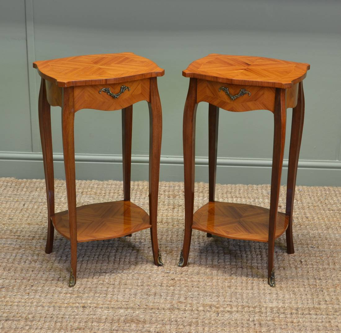 Pair of vintage kingwood antique side tables antiques world for Retro side table