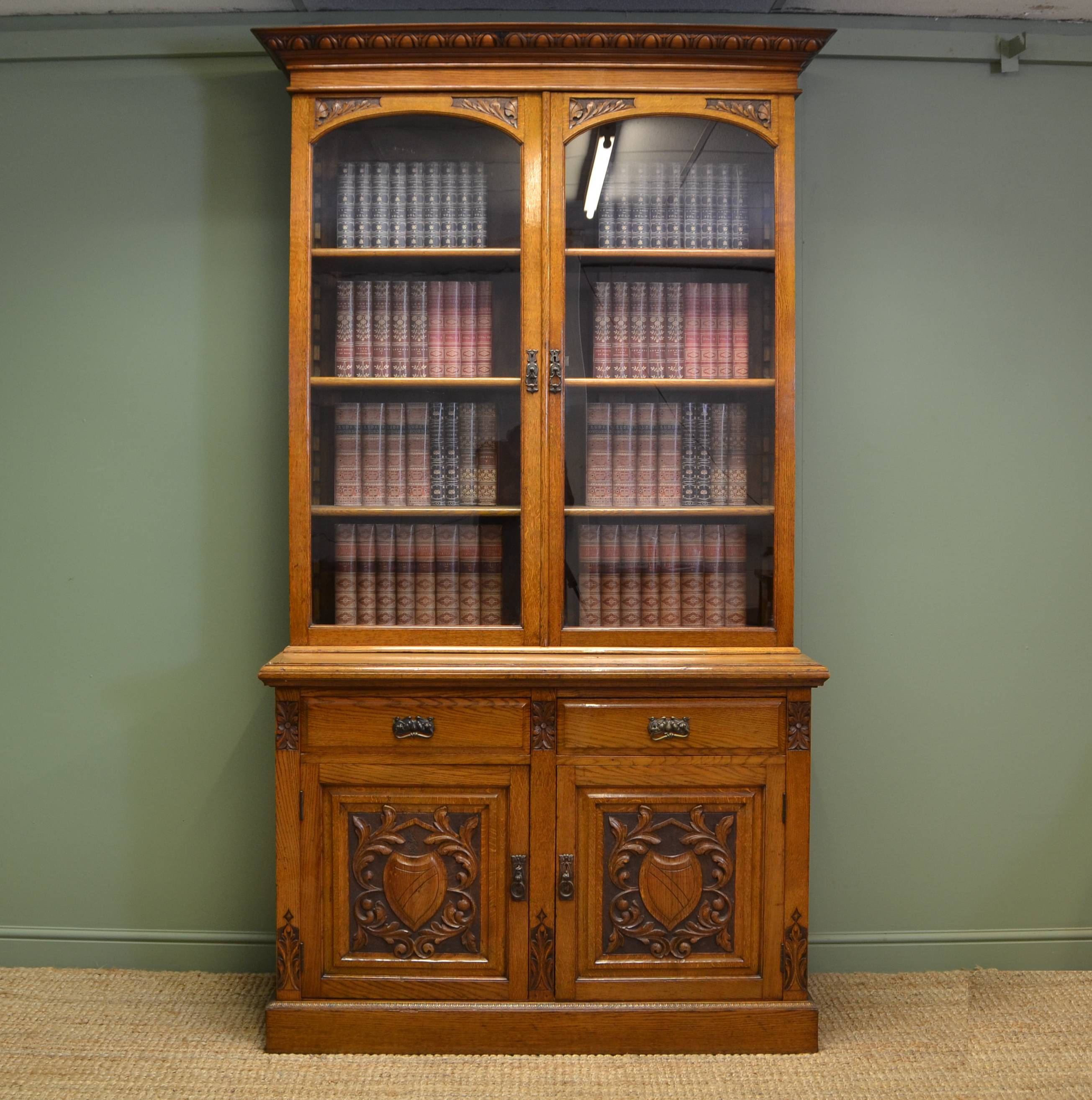 Old Bookcase Uk : Quality solid oak victorian antique bookcase on cupboard
