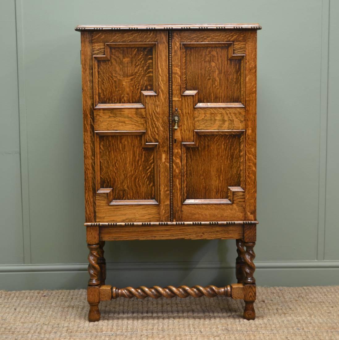 unusual edwardian golden oak small antique cupboard