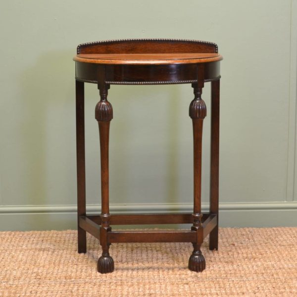 Small Demilune Antique Oak Hall / Side Table