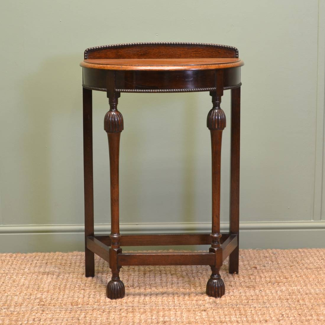 Small Demilune Antique Oak Hall / Side Table - Antiques World