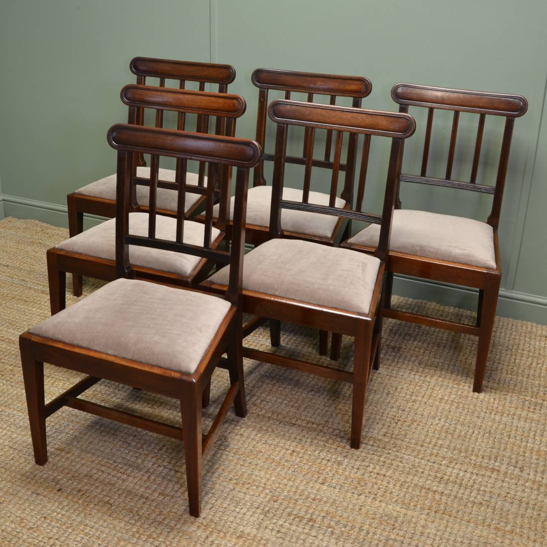 Antique Mahogany Dining Room Furniture: Quality Set Of Six Solid Mahogany Regency Antique Dining