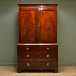 Fine Regency Figured Mahogany Antique Linen Press