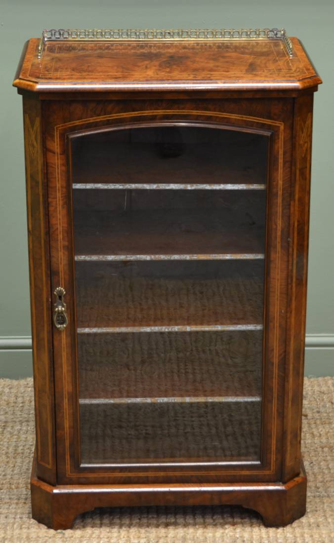 Beautifully Figured Antique Walnut Victorian Music / Display Cabinet