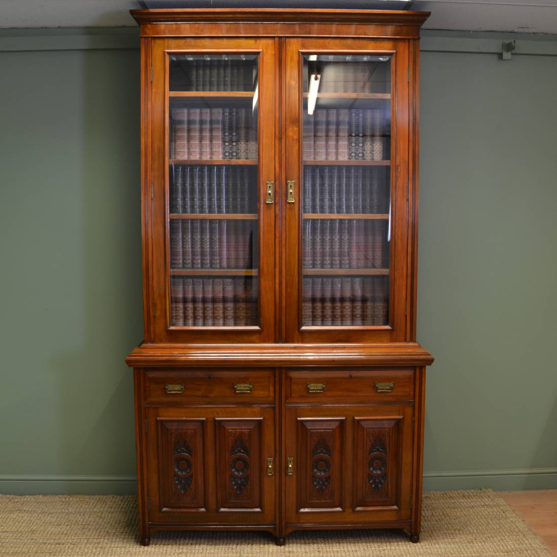 Large Victorian Solid Walnut Antique Bookcase On Cupboard