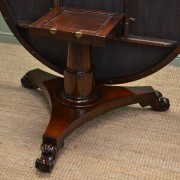 Large Circular Victorian Solid Mahogany Antique Dining Table