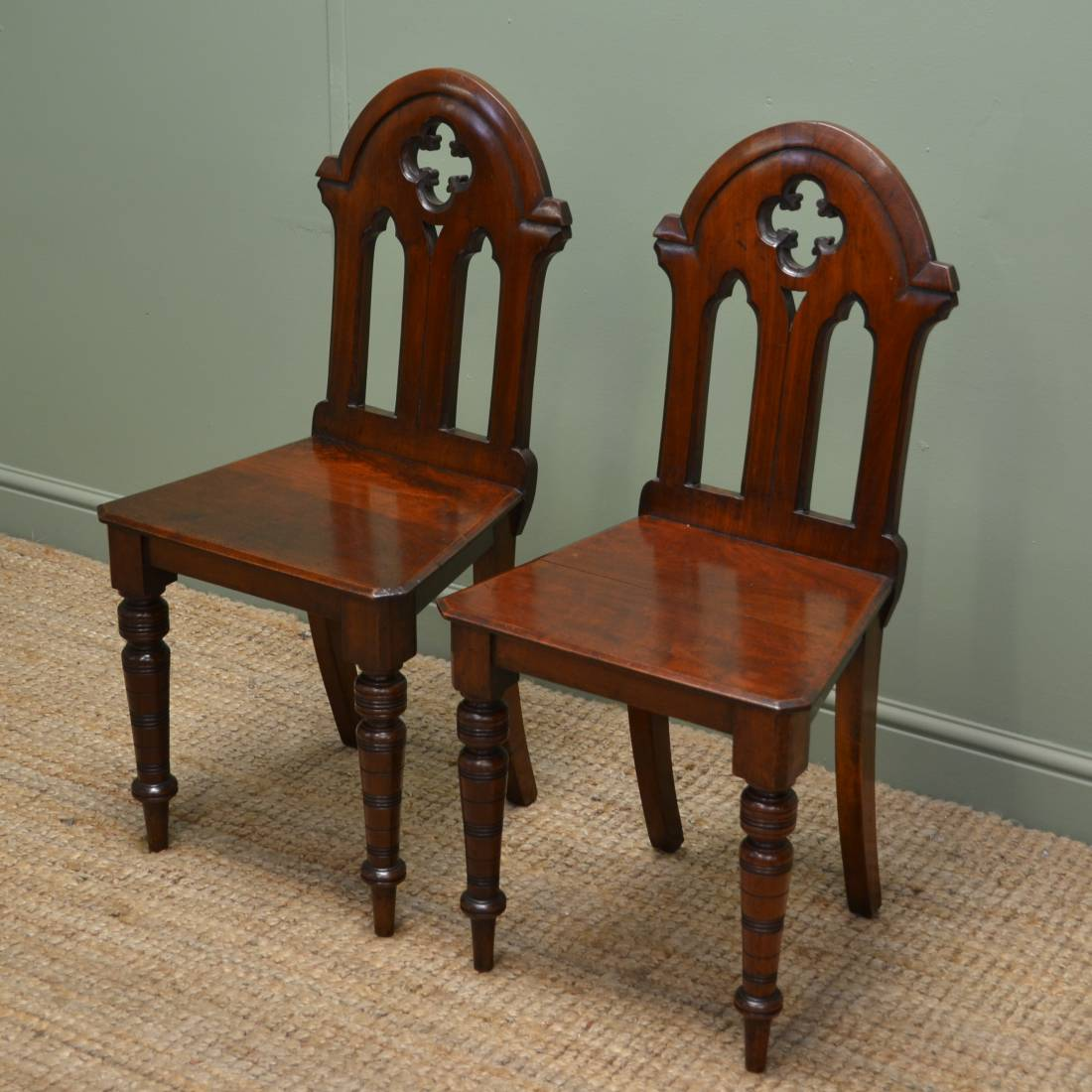 Pair Of Antique Victorian Walnut Gothic Hall Chairs