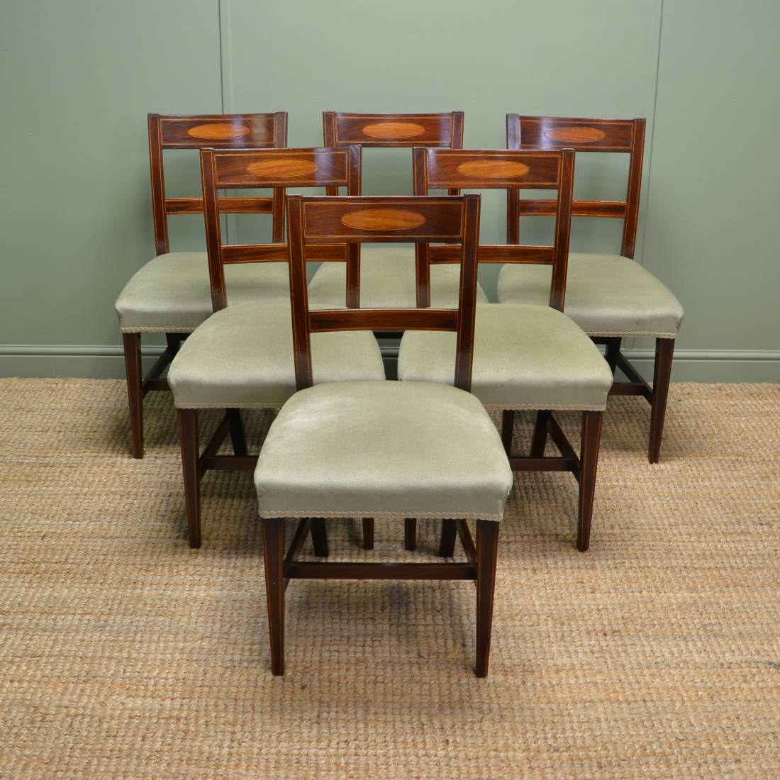 Antique Dining Chairs: Stunning Set Of Six Regency Inlaid Mahogany Antique Dining