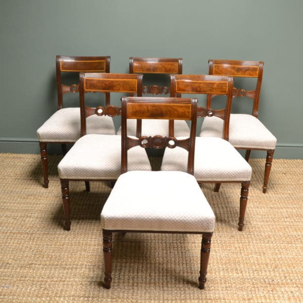Stunning Set of Six Regency Inlaid Mahogany Antique Dining Chairs