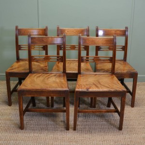 Set Of Five Unusual County Fruitwood Antique Dining Chairs
