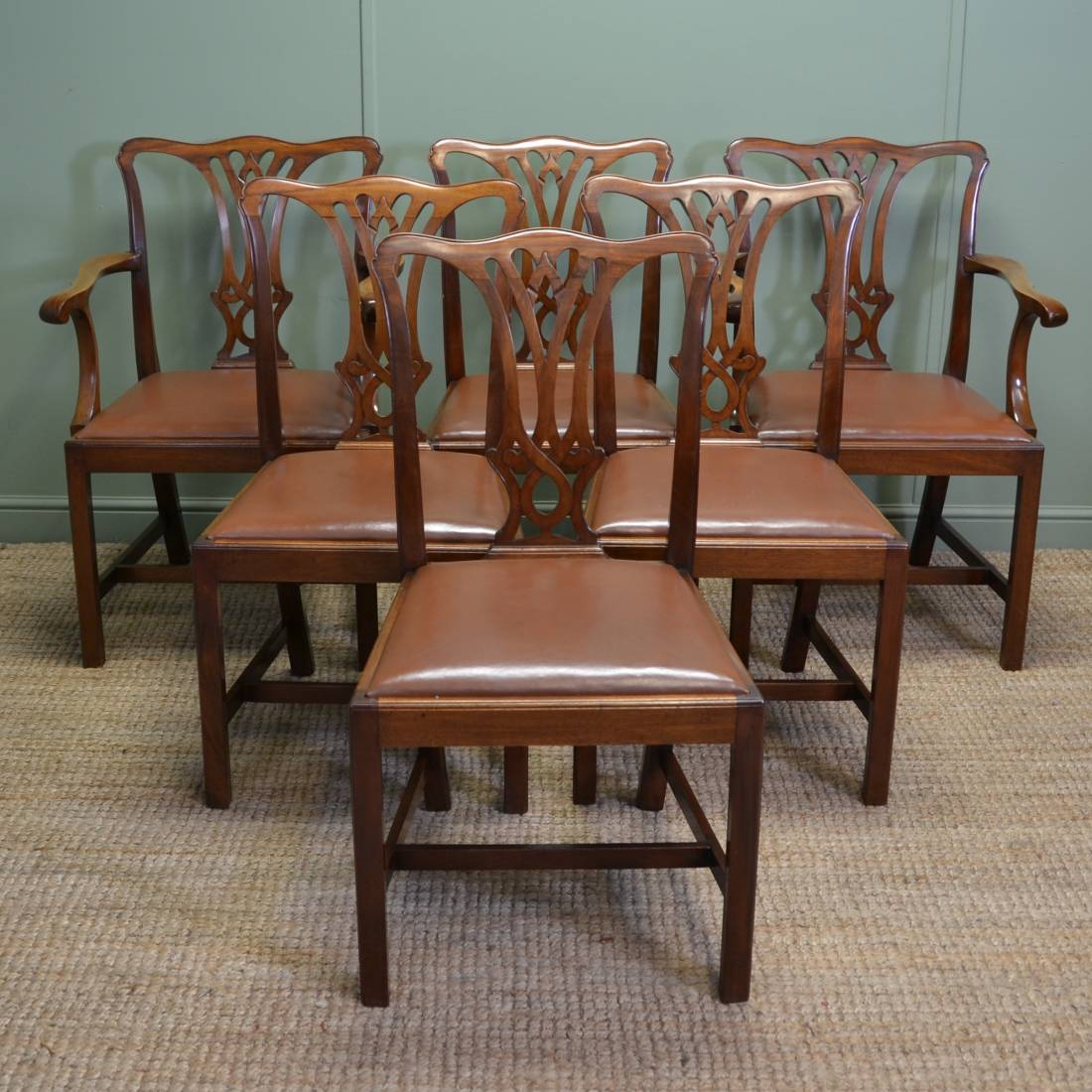 Stunning Set Of Six Edwardian Warm Mahogany Chippendale Design Antique Dinning Chairs.