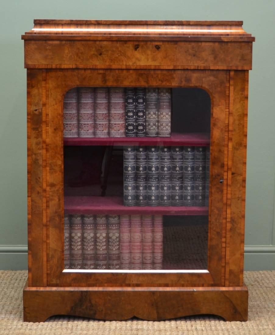 Stunning Figured Burr Walnut Antique Victorian Pier / Display Cabinet