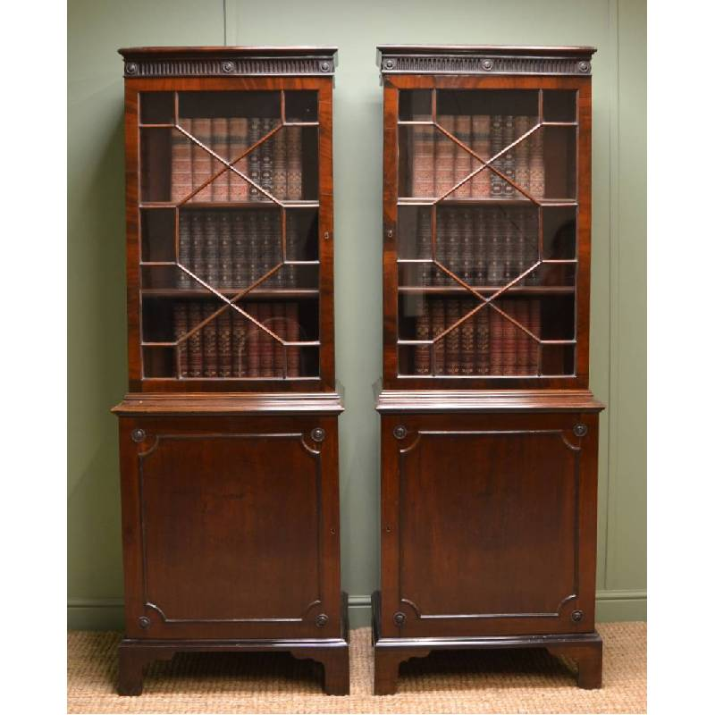Unusual Pair Of Victorian Mahogany Antique Bookcases
