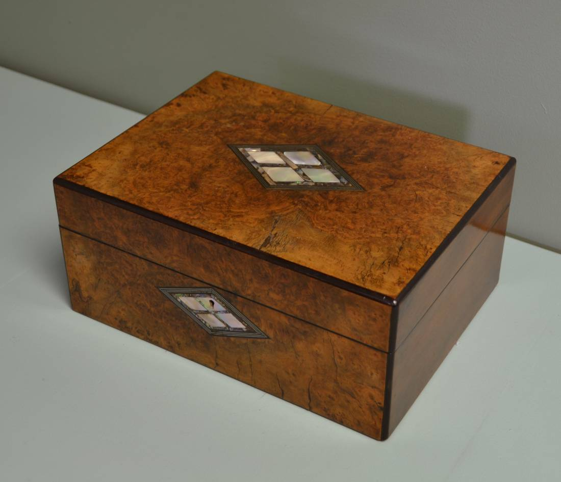 Stunning Quality Figured Burr Walnut Antique Stationary Box