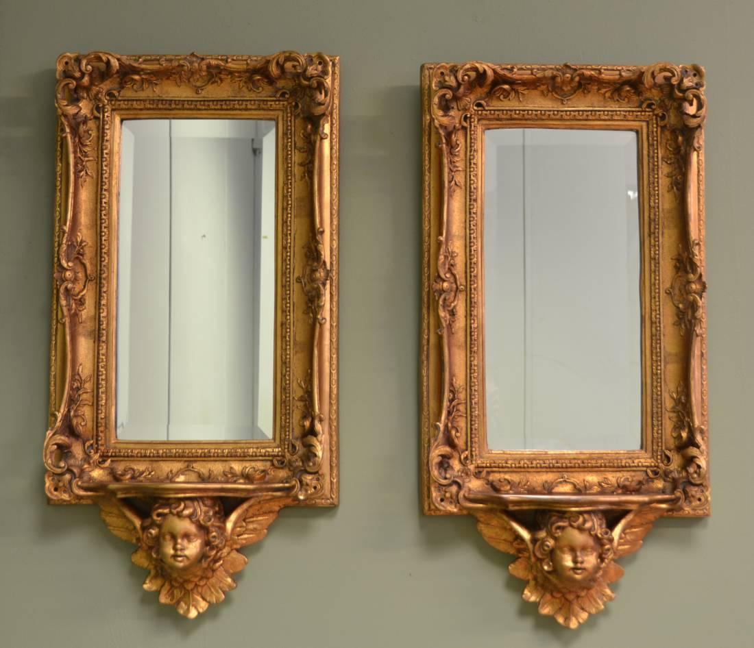 Pair Of Antique Decorative Cherub Gilt Mirrors