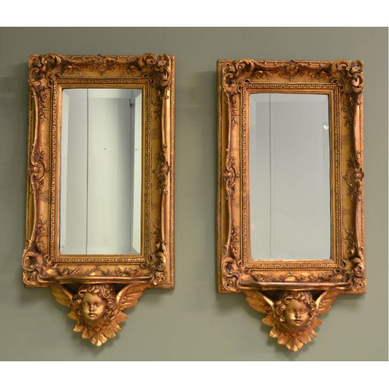 unusual pair of antique decorative gilt mirrors antiques