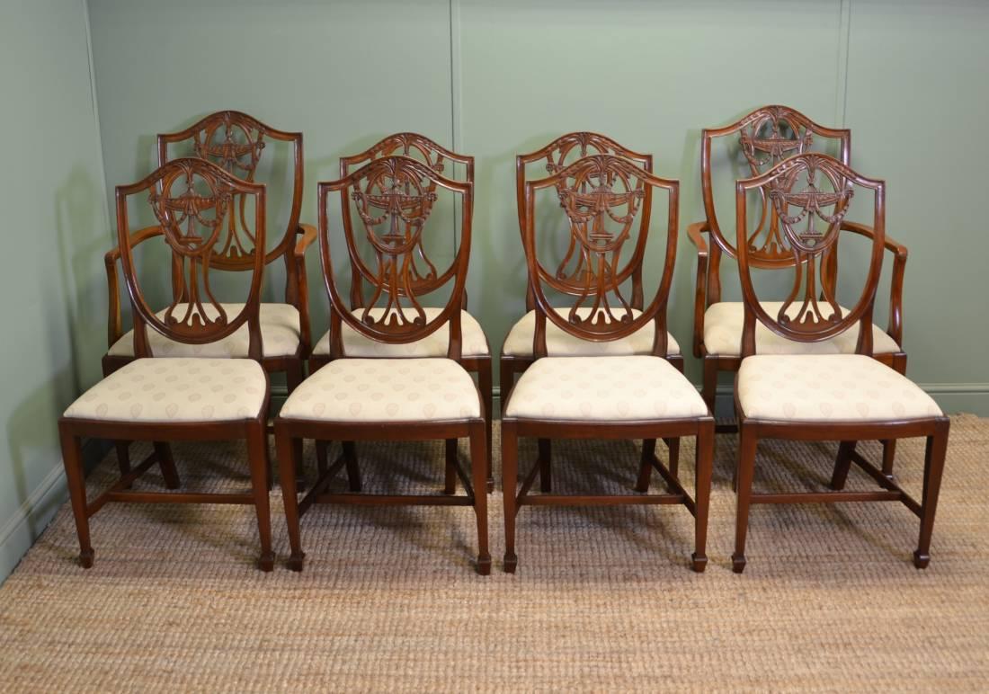 Set Of Eight Hepplewhite Design Edwardian Antique Mahogany