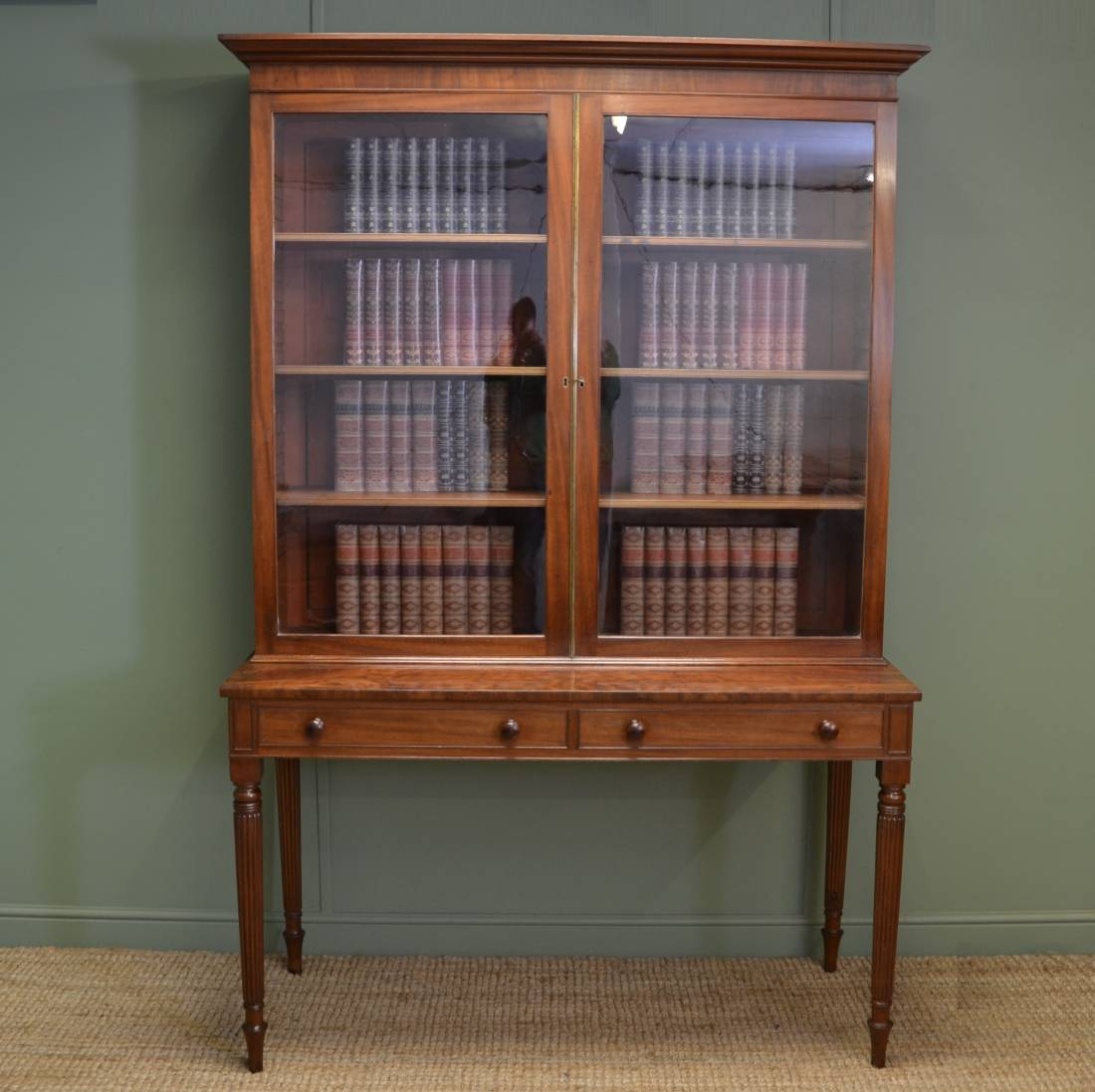 Unusual Regency Gillows Antique Mahogany Bookcase On Stand