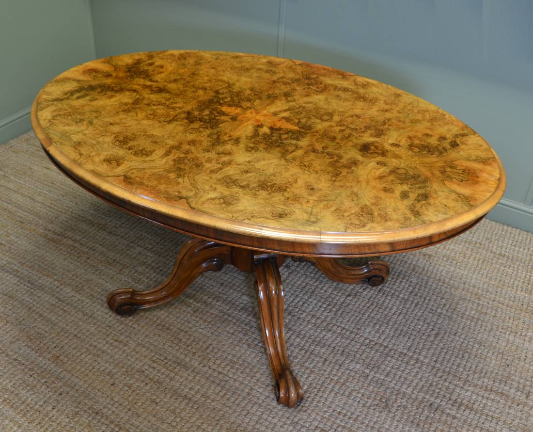 Magnificent Victorian Burr Walnut Oval Antique Dining