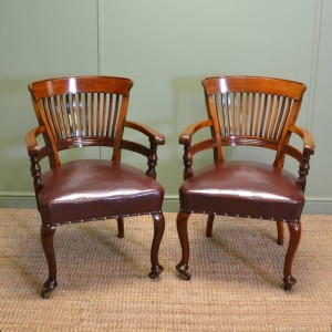 Fabulous Quality Victorian Solid Walnut Antique Pair Of Office Chairs