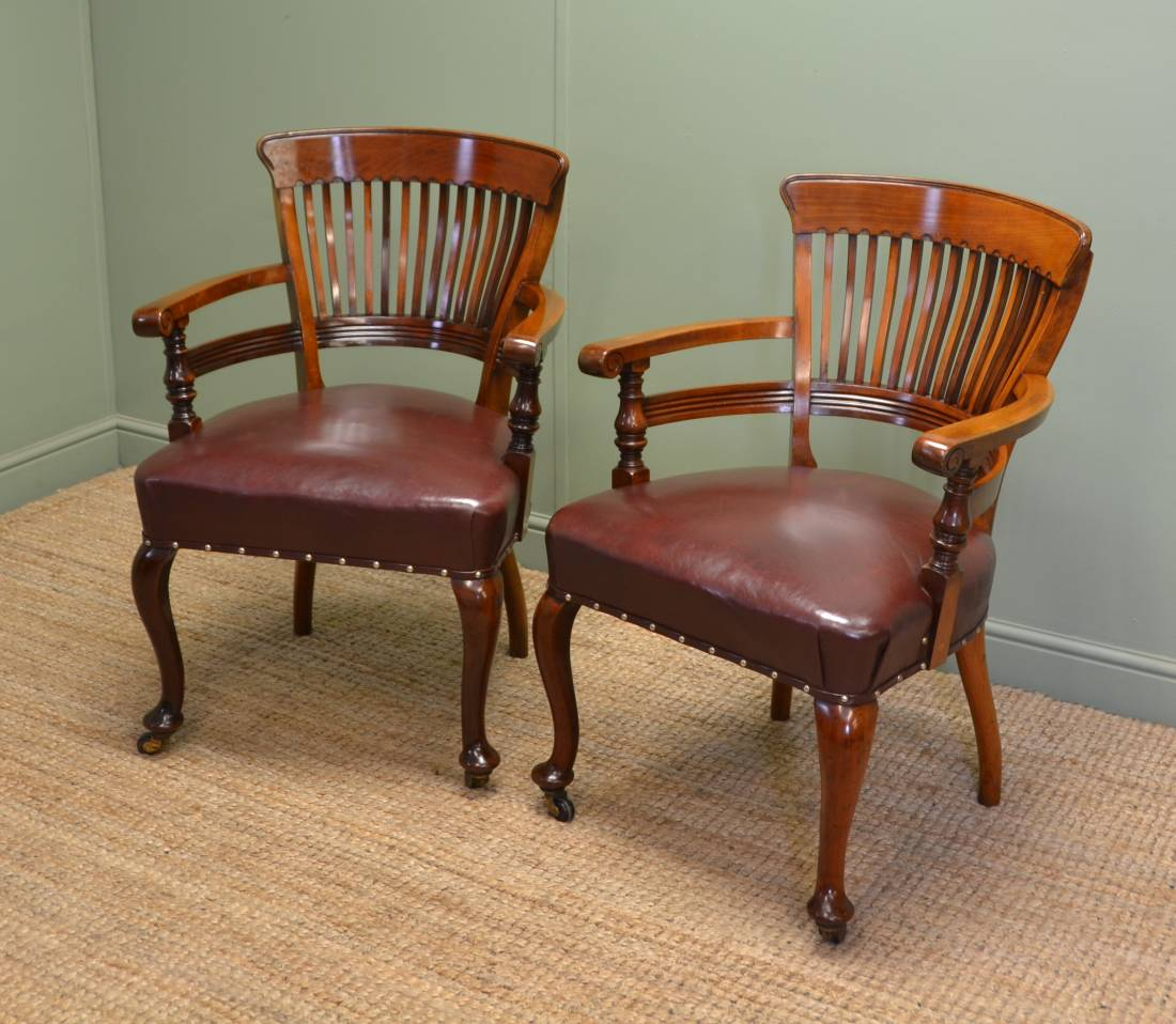 Antique Office Furniture ~ Fabulous quality victorian solid walnut antique pair of