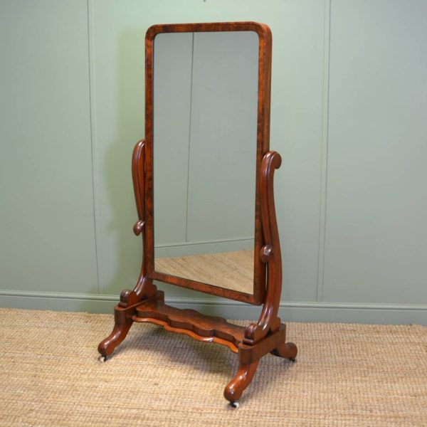 Fine Quality Early Victorian Antique Mahogany Cheval Mirror