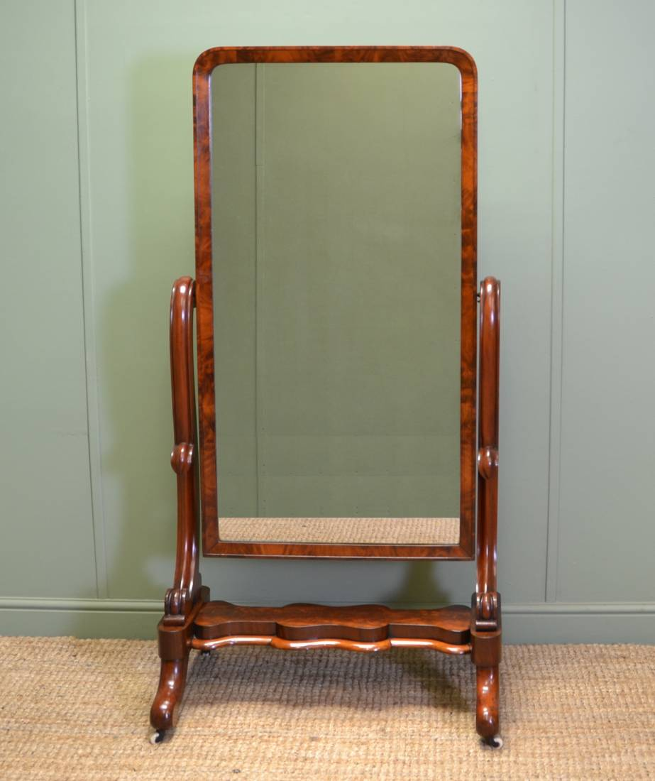 Fine quality early victorian antique mahogany cheval for Mirror quality