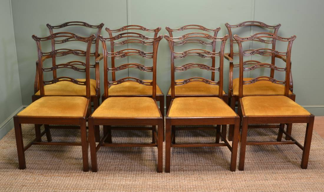 Unusual Set Of Eight Edwardian Chippendale Design Antique Walnut Dining Chairs