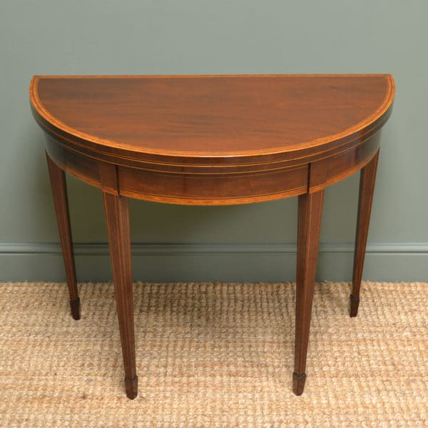 Fine Figured Mahogany D End Side / Demi Lune Card Table / Games Table
