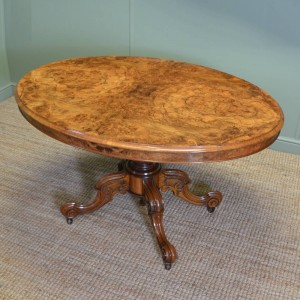 Magnificent Quality Victorian Figured Burr Walnut oval Dining Table