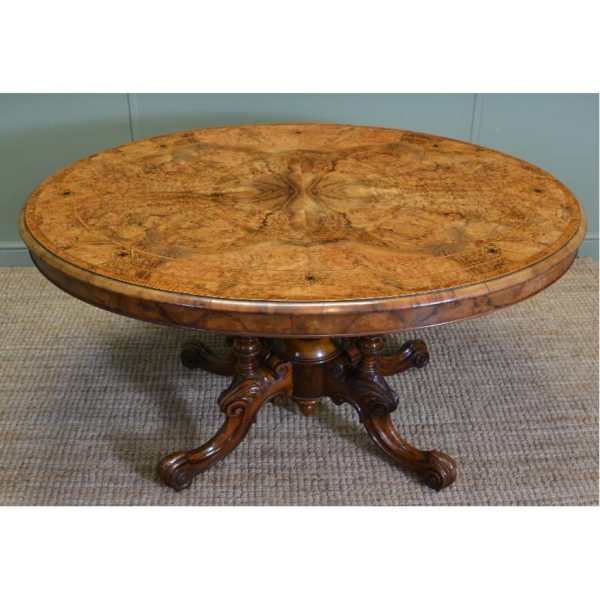 Magnificent Quality Figured Walnut Inlaid Oval Antique Dining Table.