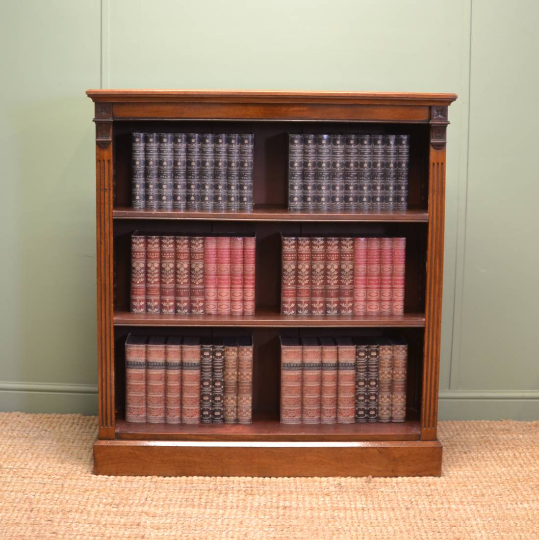 Quality Victorian Antique Walnut Open Bookcase Antiques