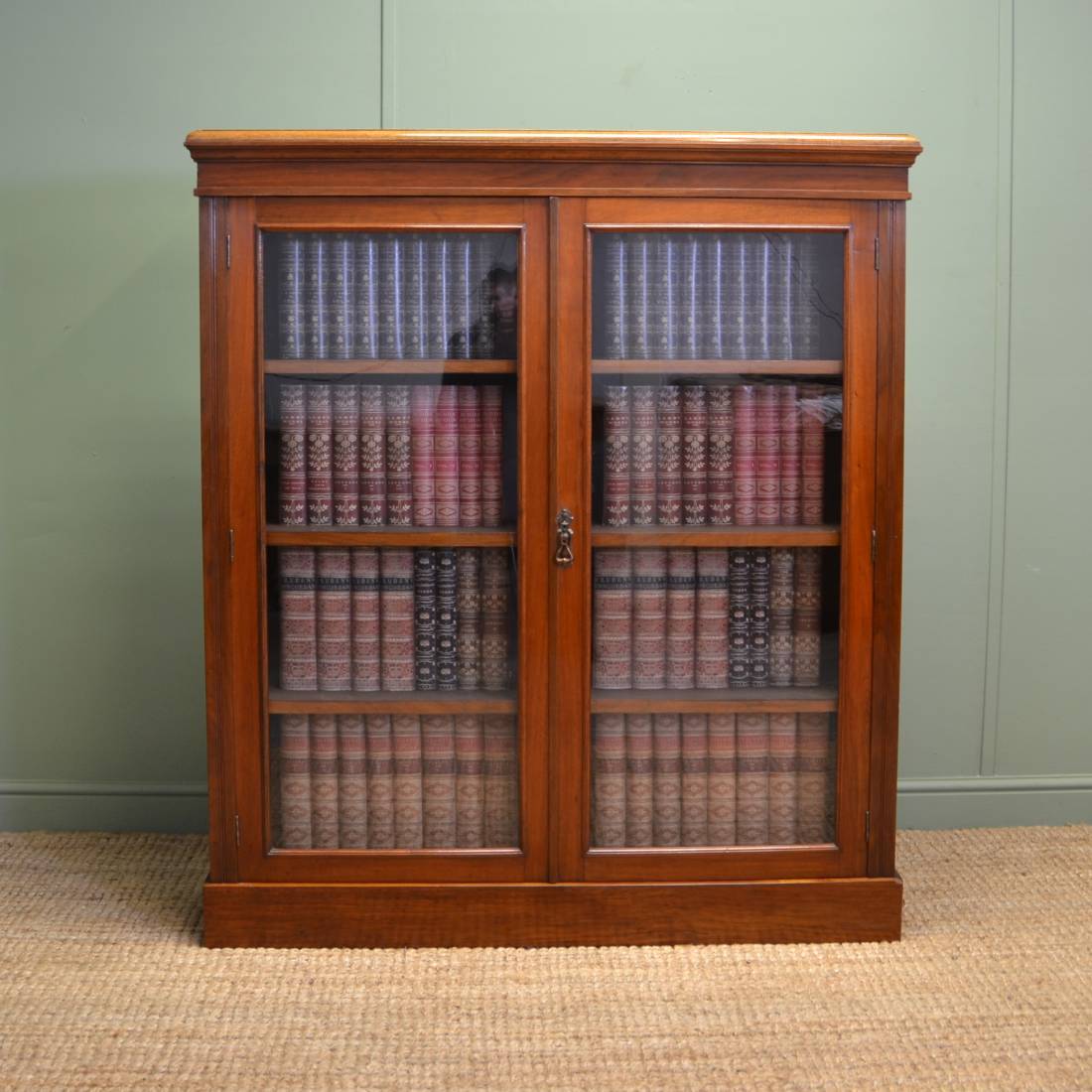 Quality Victorian Walnut Antique Glazed Bookcase