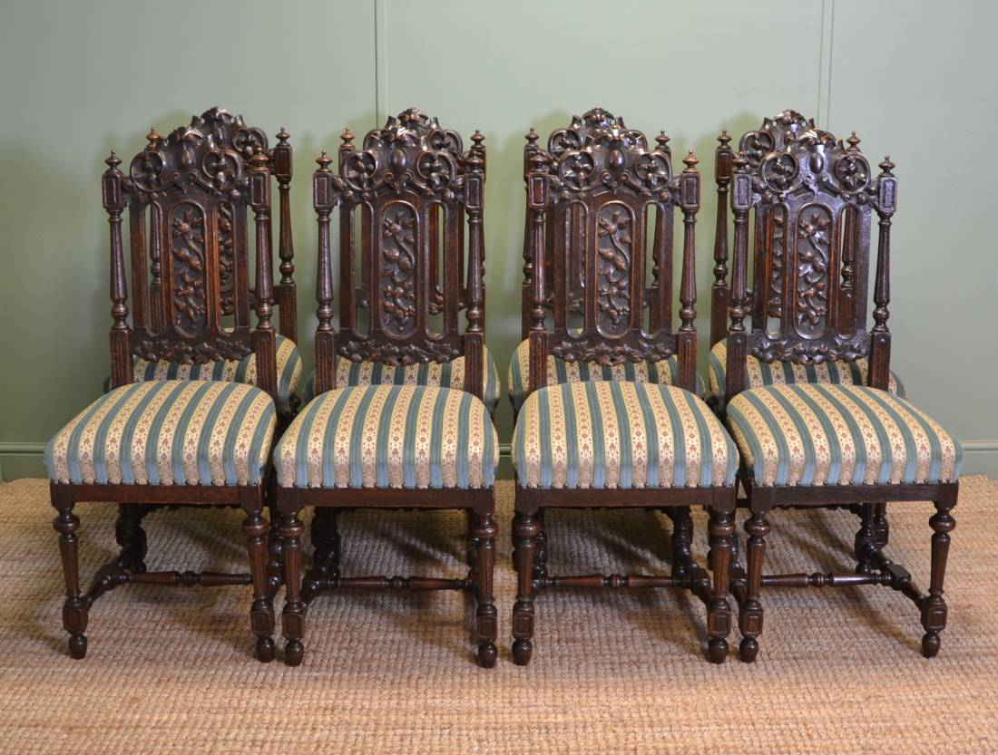 High back antique chairs - Beautiful Set Of Eight Quality Victorian Carved Oak High Back Antique Dining Chairs