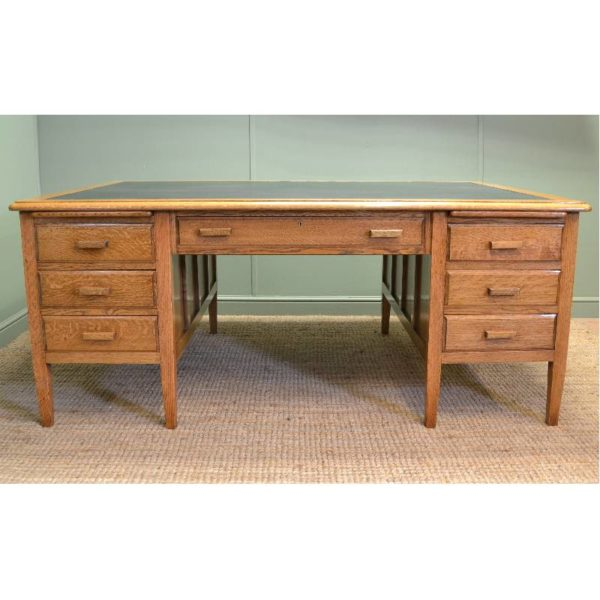 Magnificent Quality Golden Oak Large Antique Partners Desk