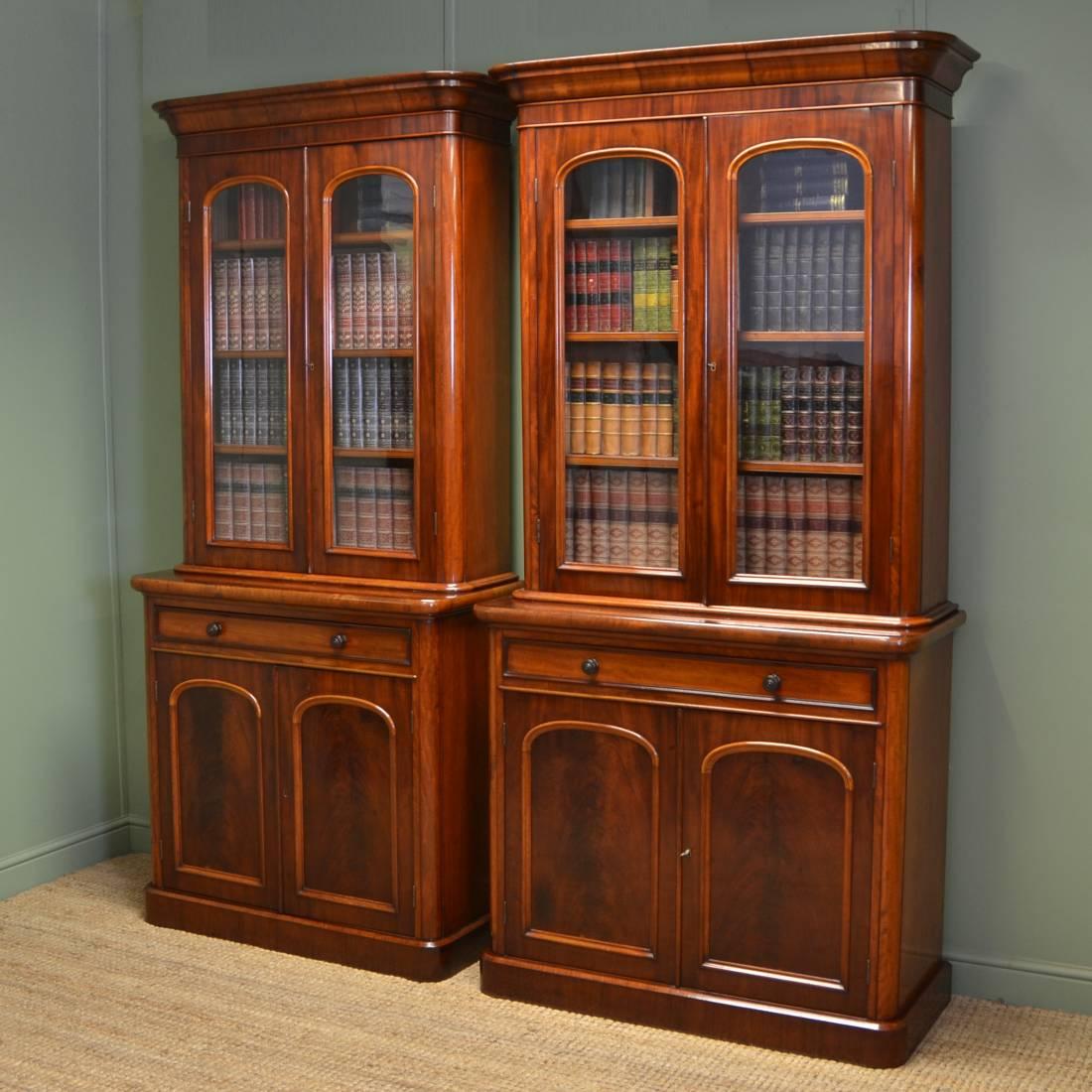 Antique Bookshelves: Fabulous Quality Unusual Pair Of Victorian Mahogany