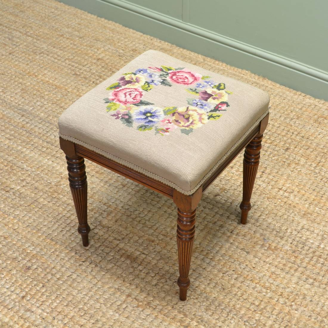 Victorian Walnut Stool with Tapestry Seat