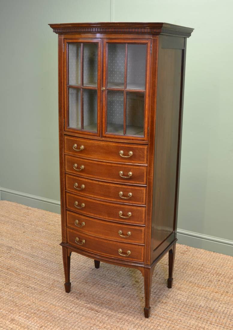 Unusual Edwardian Bow Fronted Inlaid Mahogany Antique Music / Display  Cabinet ... - Antique Music Cabinet - Antiques World