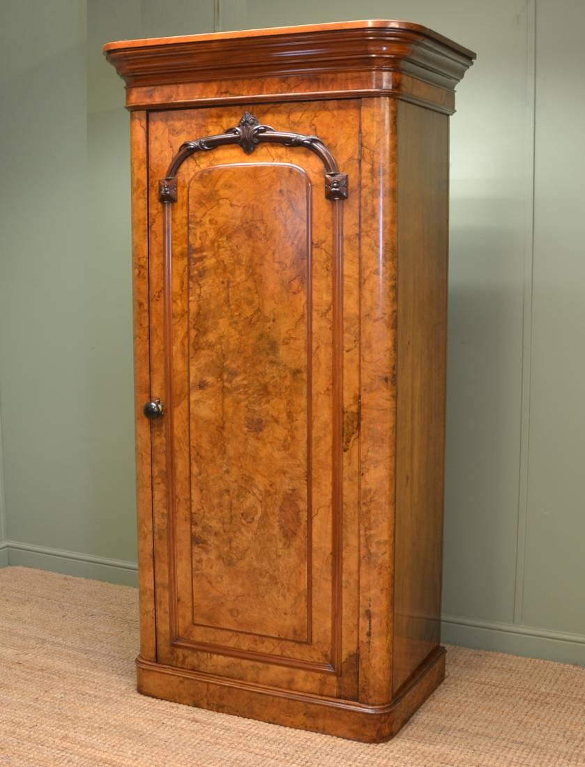 Unusual Burr Walnut Victorian Antique Single Wardrobe