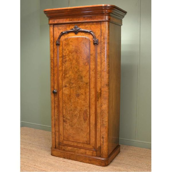 Unusual Burr Walnut Victorian Antique Single Wardrobe
