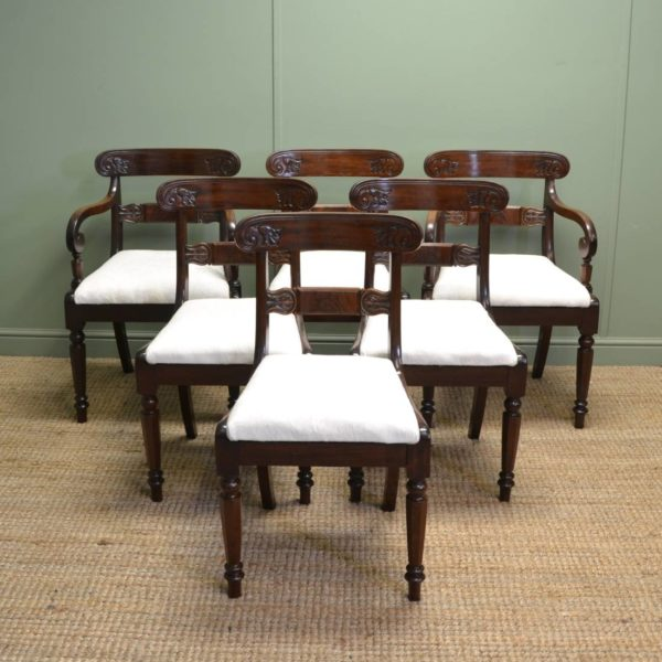 Fine Set Of Six William IV Antique Dining Chairs